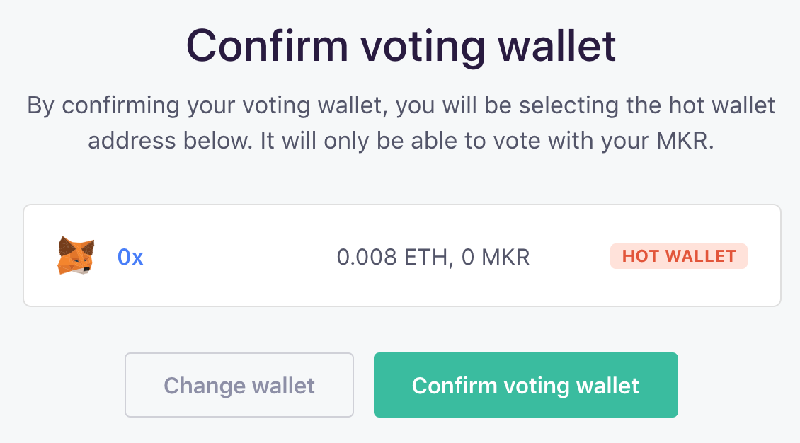 Confirm voting wallet