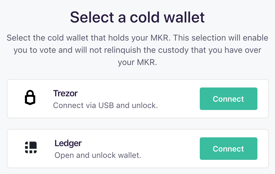 Select a cold wallet