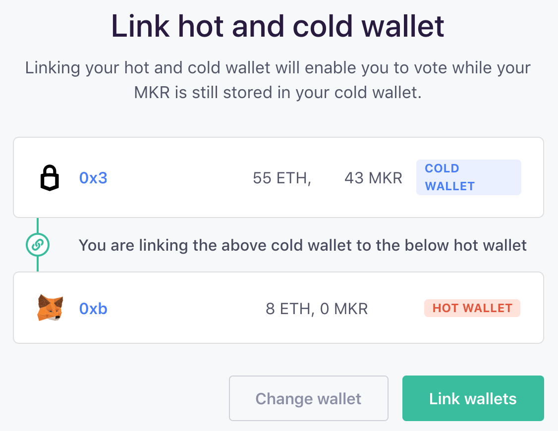Link hot and cold wallets