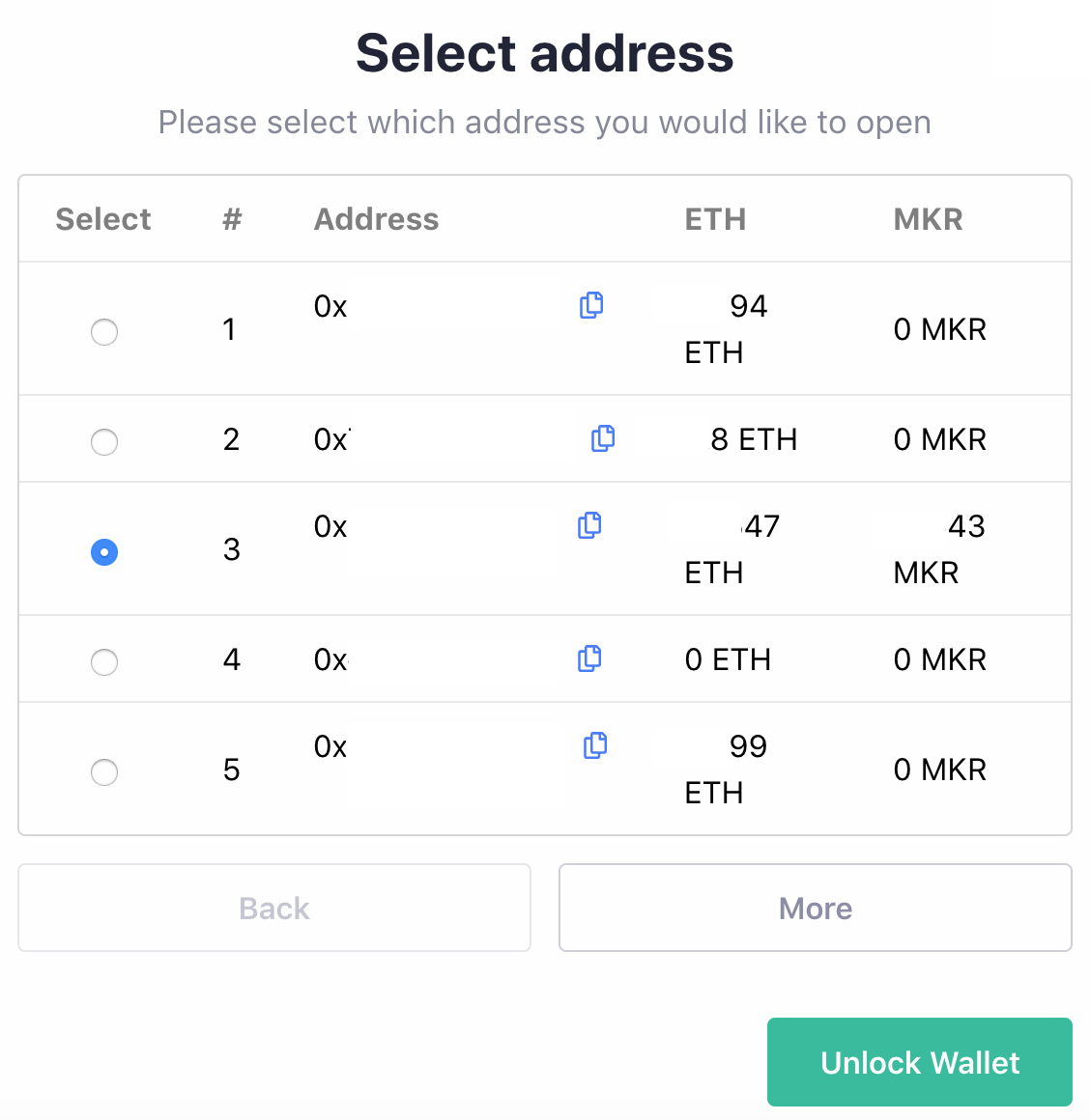 Select Linked Cold Wallet Address
