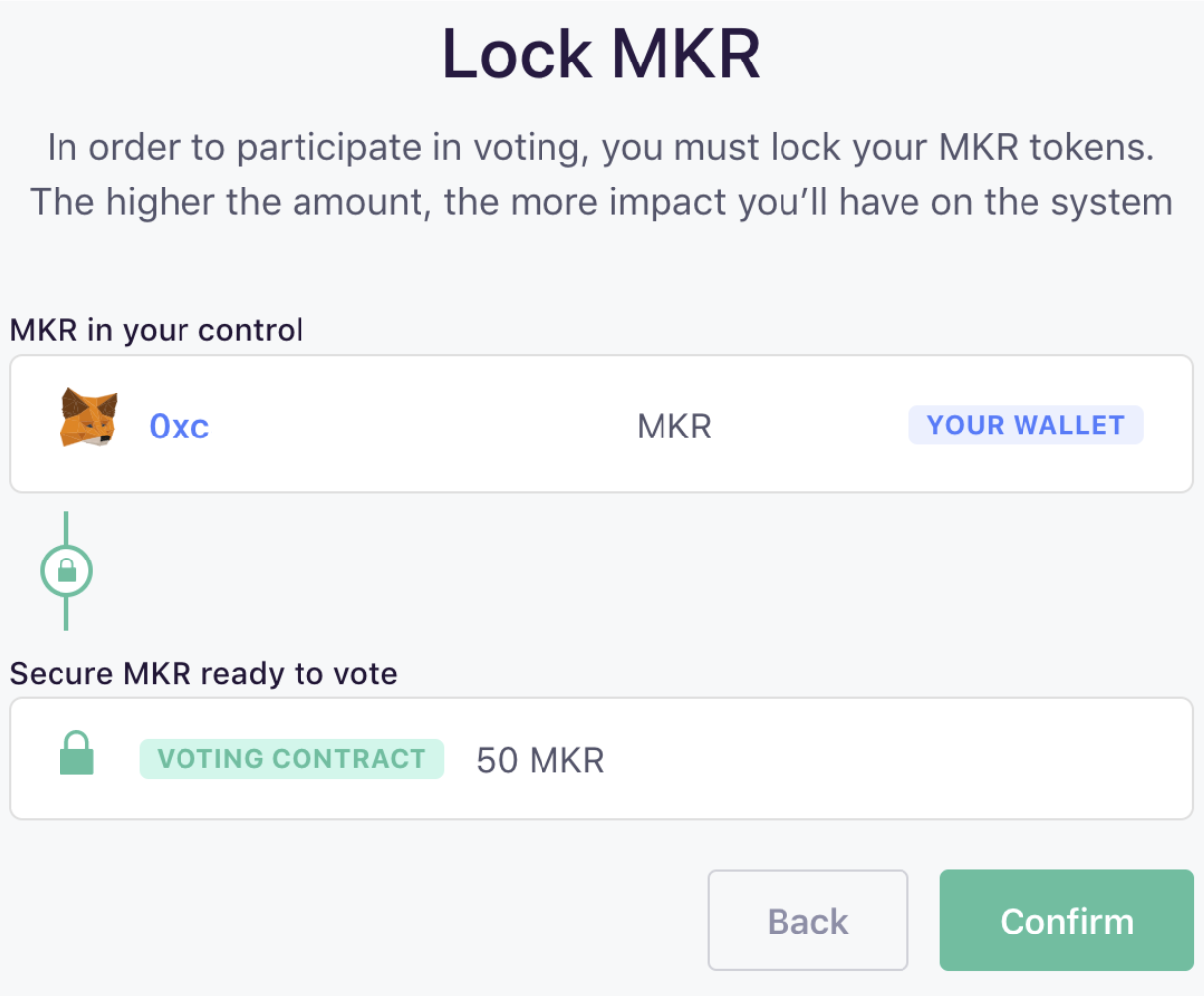 Confirm Lock MKR