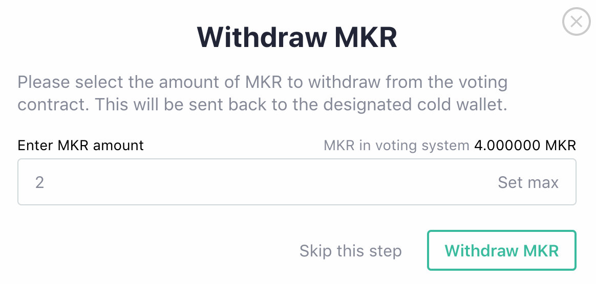 Withdraw MKR
